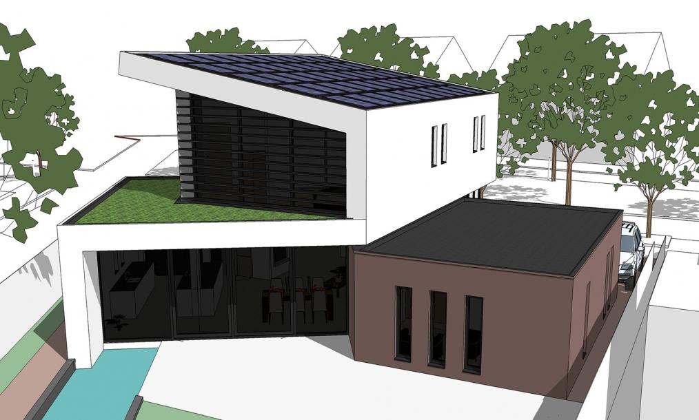 3D impressie ontwerp energieneutrale woning
