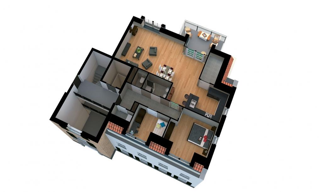 3d plattegrond penthouse appartement zinkweg 64