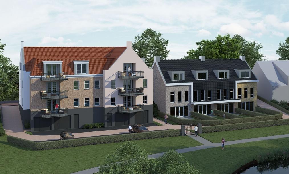 Achterzijde energieneutrale appartementen aan het groen en water