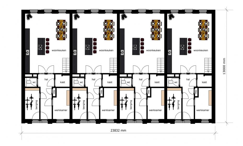 Begane grond met woonkeuken woningen Proveniersstraat Rotterdam