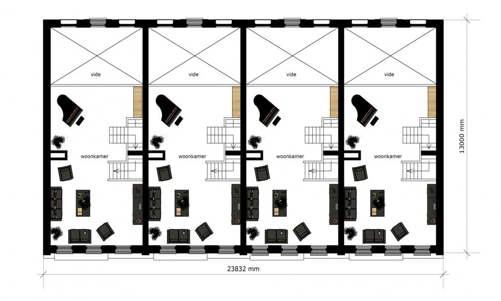 Eerste verdieping met woongedeelte energieneutrale woningen
