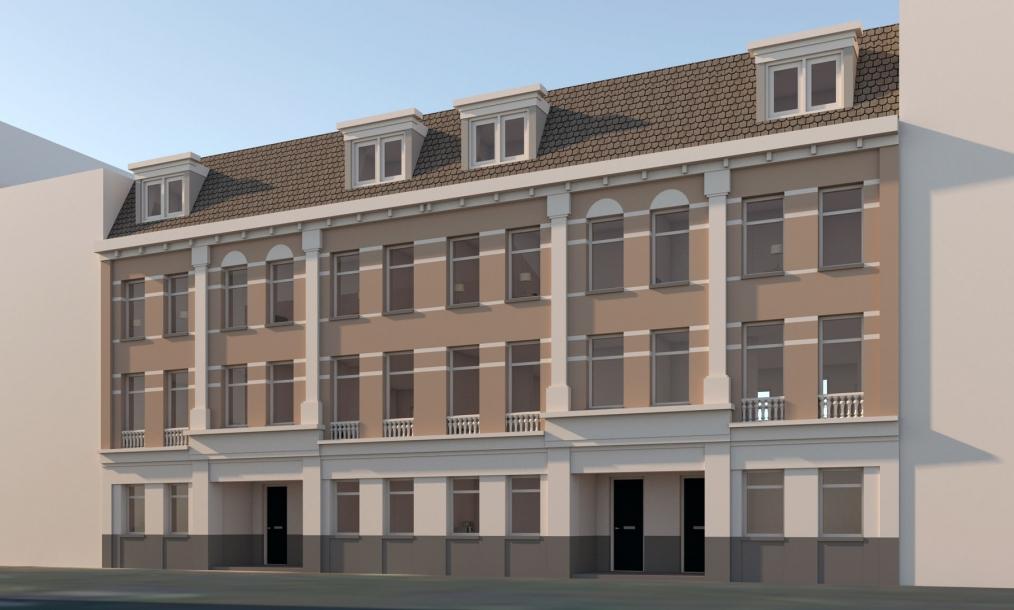 3D impressie variant gevel energieneutrale woningen Proveniersstraat Rotterdam
