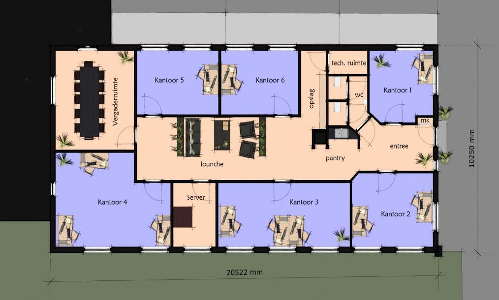 Nieuwe indeling renovatie kantoorpand Nieuwe Kleverskerseweg Middelburg