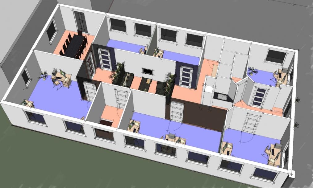 3D plattegrond van indeling kantoren in herontwikkeld bedrijfspand
