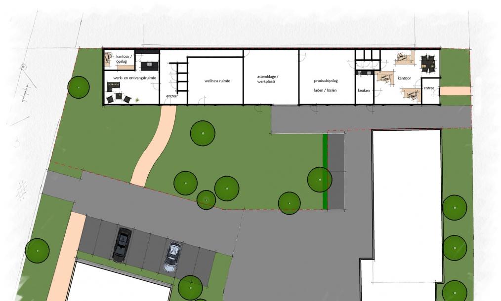 Plattegrond hoofdopzet herontwikkeling loods naar bedrijfsgebouw Middelburg
