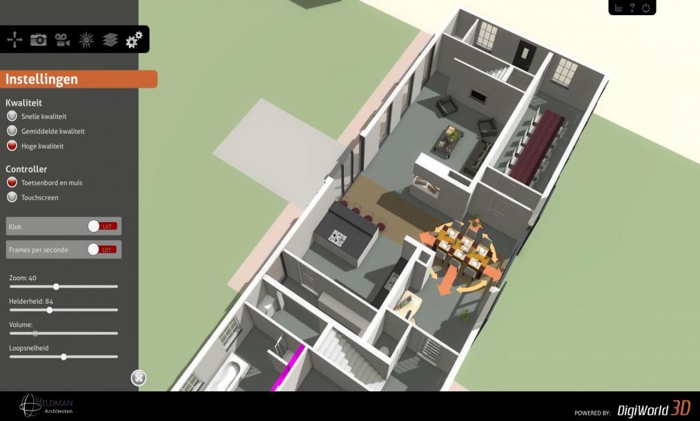 Screenshot interactief 3D model van ontwerp woonboerderij s-Heerenhoek