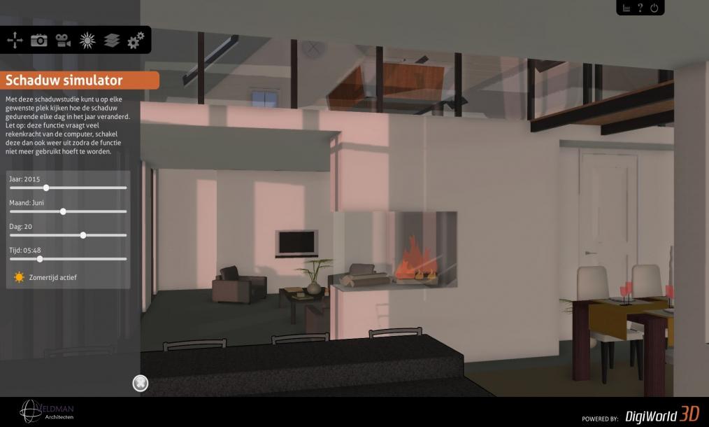 Screenshot interactief 3D model van schaduwverloop en vide met interne brug ontwerp woonboerderij s-Heerenhoek Zeeland