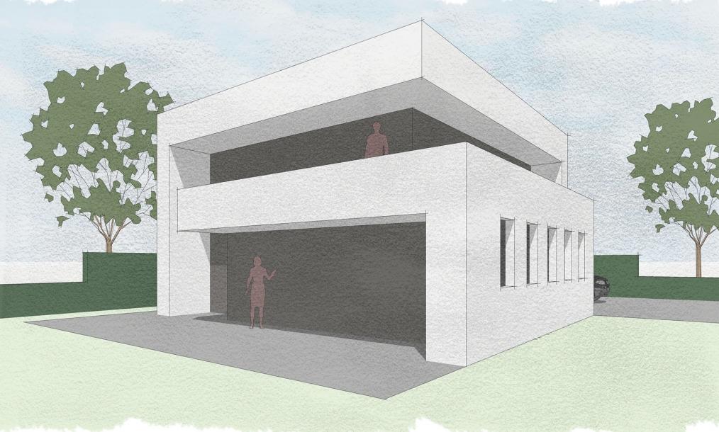 Moderne bouwmassa met plat dak en verre zichtlijnen vanaf begane grond en dakterras