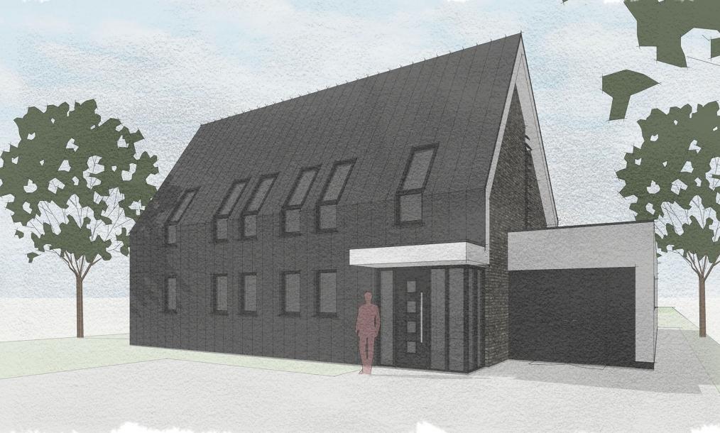 Voorkant energieneutrale woning met donkerzinken dak en gevels en aantrekkelijke entree