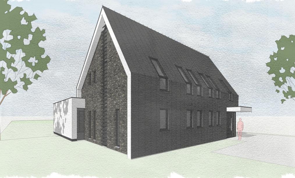 Voorzijde van moderne energieneutrale woning met aangepaste dakhellingen ten behoeve van zonnepanelen