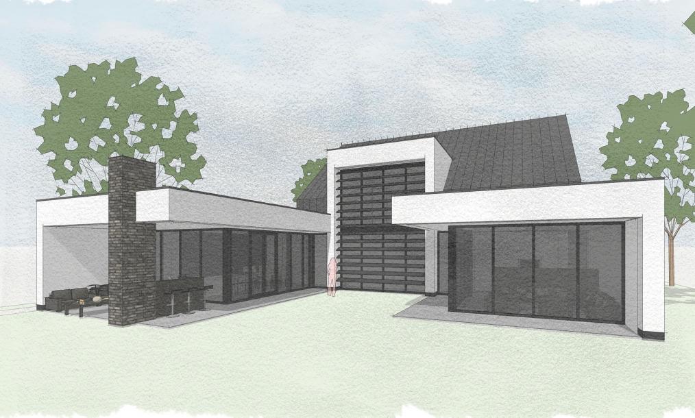 Moderne uitstraling van energieneutrale woning aan de achterzijde met de leefgedeelten rondom de binnentuin
