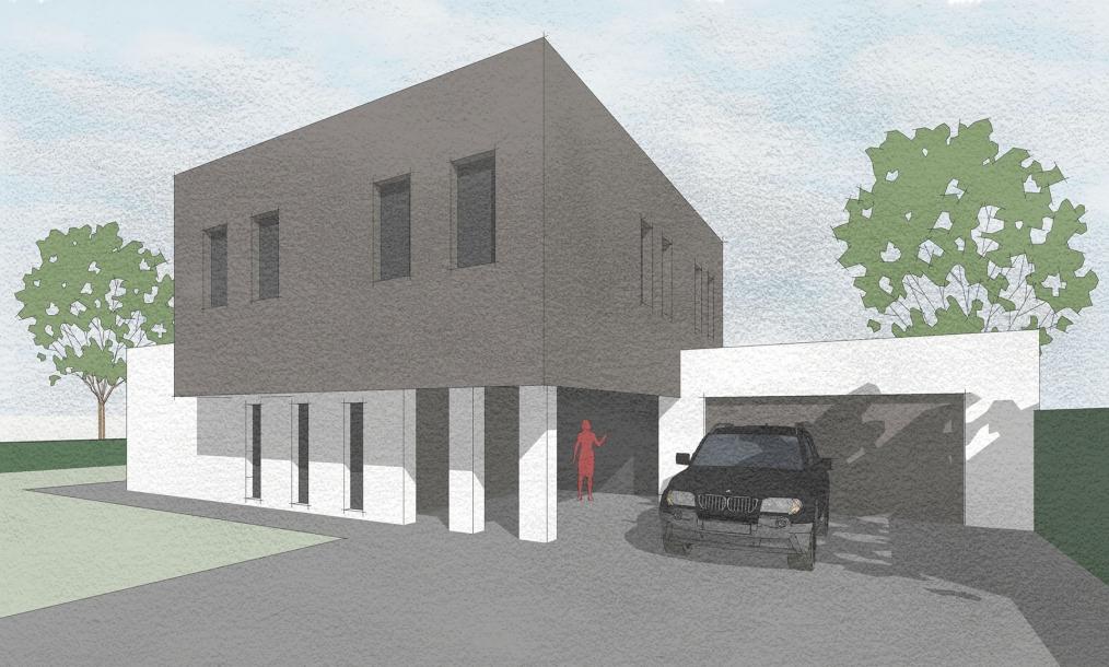 Moderne kubstische en energieneutrale woning opgebouw uit diverse blokelementen
