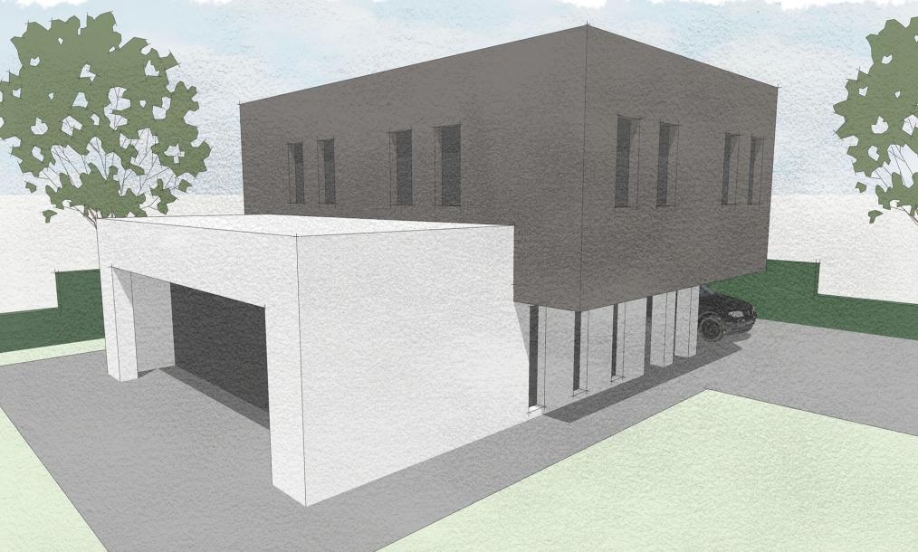 Moderne energieneutrale woning bestaande uit twee hoofdvormen gestapeld op elkaar met plat dak