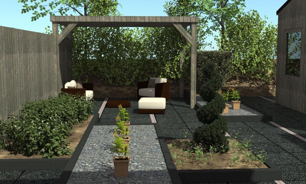 3D impressie tuinontwerp woning Vlissingen met diep lange lijnen