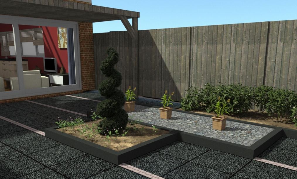 3D impressie mogelijke inrichting tuinontwerp