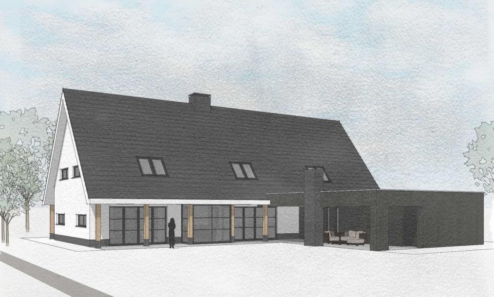 Achterkant energieneutrale moderne schuurwoning met aanbouw ambachtsheerenlaan Numansdorp