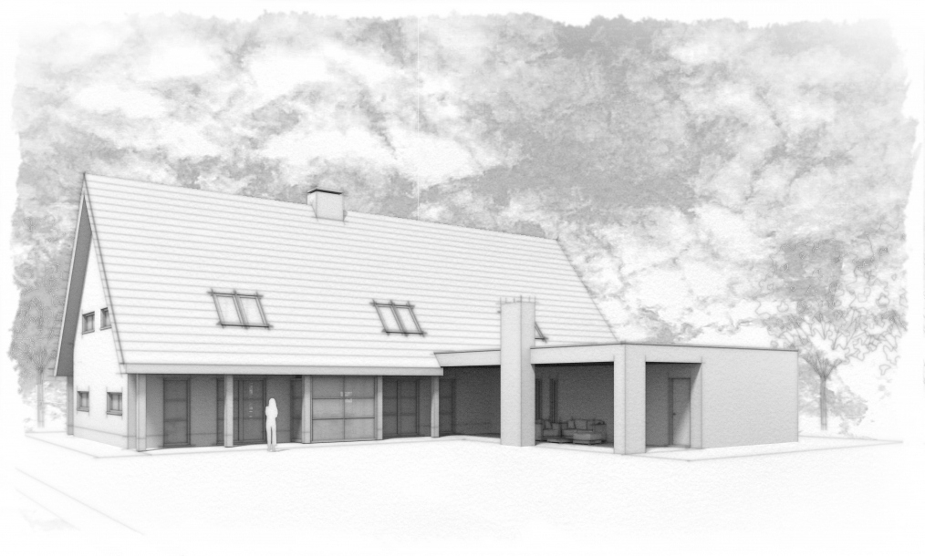 Impressie achterkant moderne schuurwoning met vergunningsvrije uitbouw