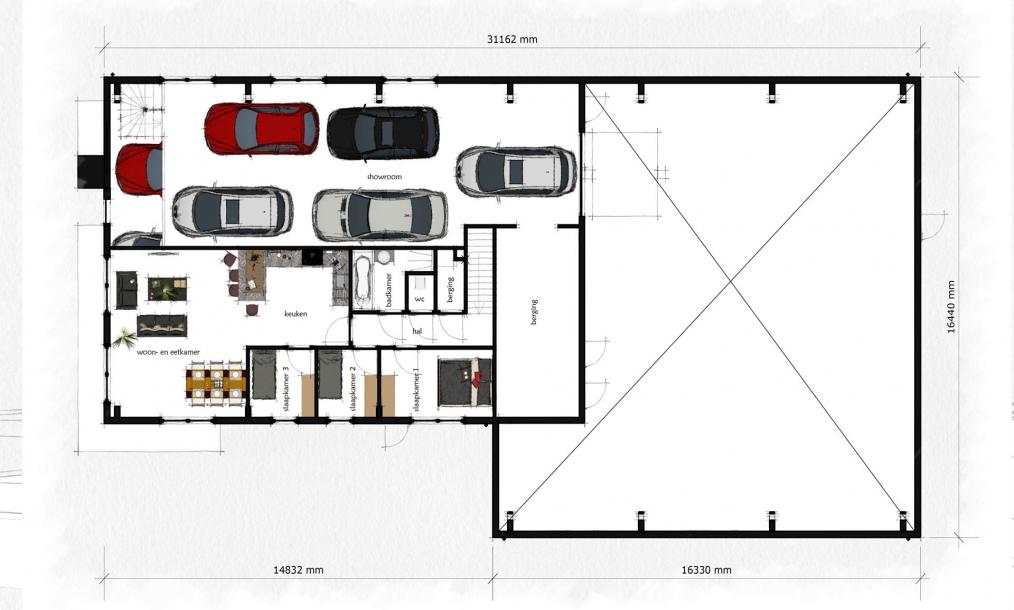 Eerste verdieping autobedrijf wijnand van den berg met showroom en bedrijfswoning