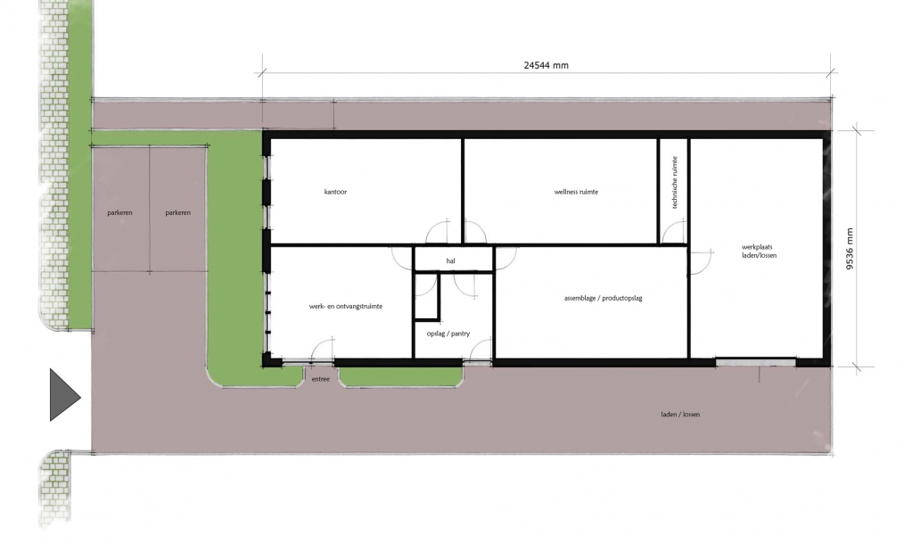 Plattegrond nieuwe indeling wellness centrum Middelburg