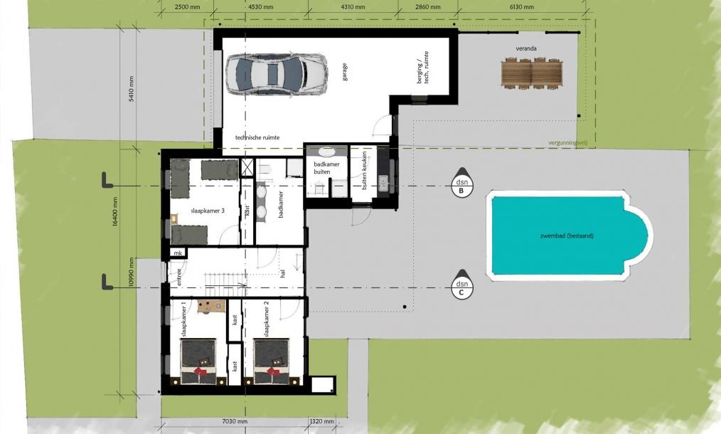 Begane grond moderne woning met slaapvertrekken en garage op de begane grond
