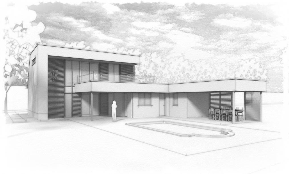 Impressie achterkant woning met aantrekkelijke buitenruimten, dakterras en diverse zichtlijnen