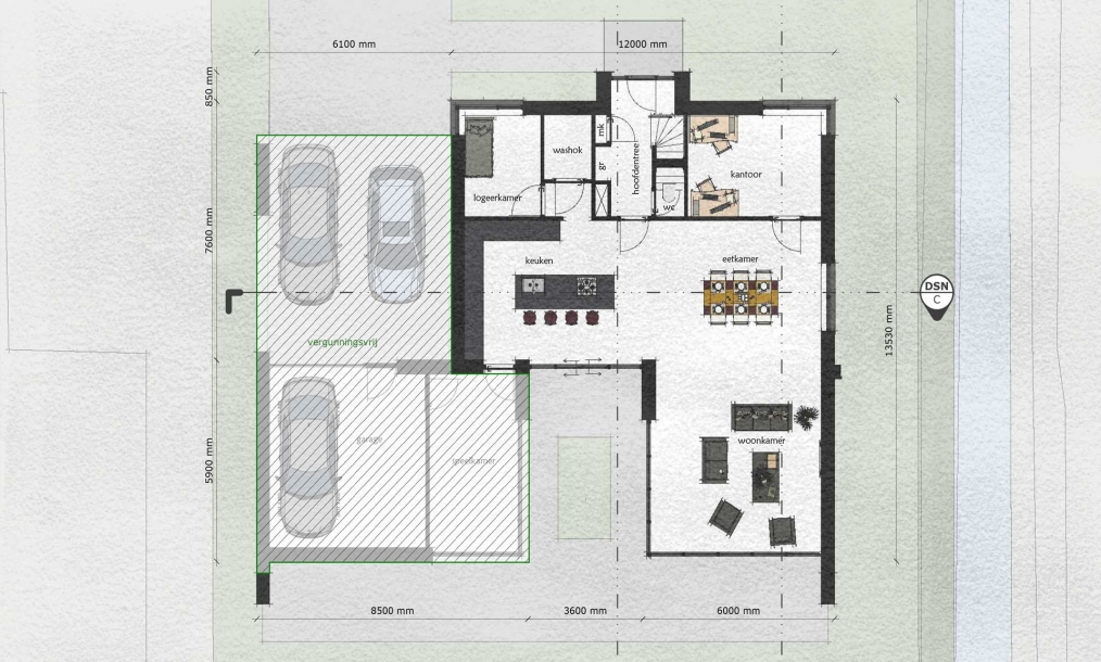 Plattegrond energieneutrale woning met patio met leefgedeelten rondom