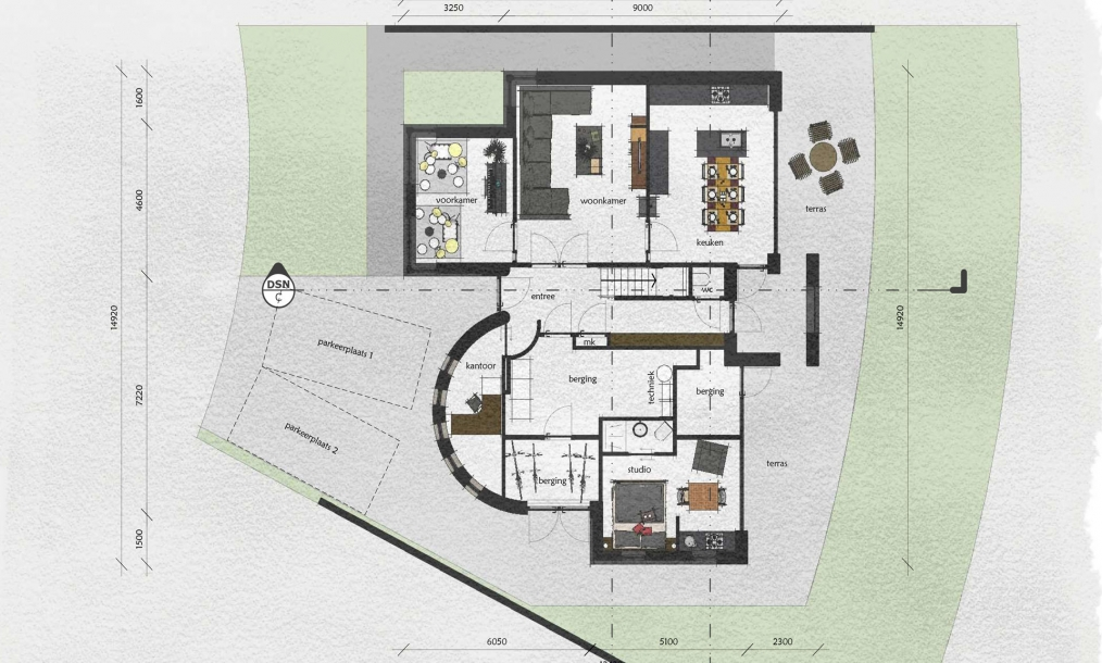 Plattegrond moderne woning met studie aan goese meer