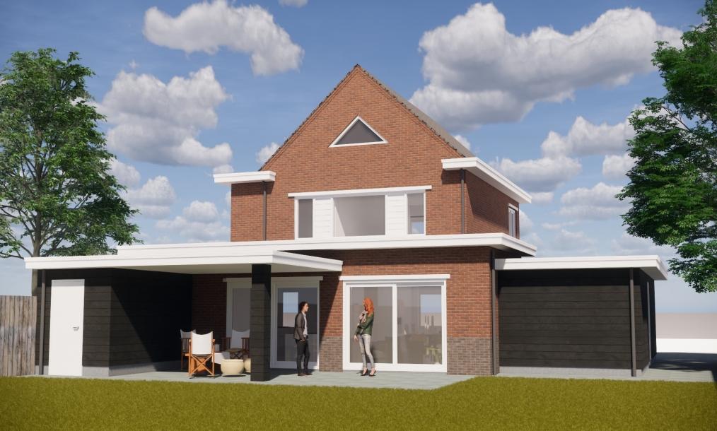Bestaande woning met diverse uitbouwen in samenhang met elkaar ontworpen te Axel (Zeeland)