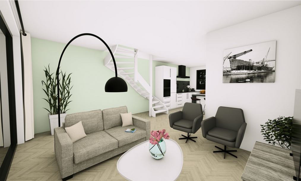 3D interieur impressie energieneutrale starterswoningen zes meesters te Wissenkerke