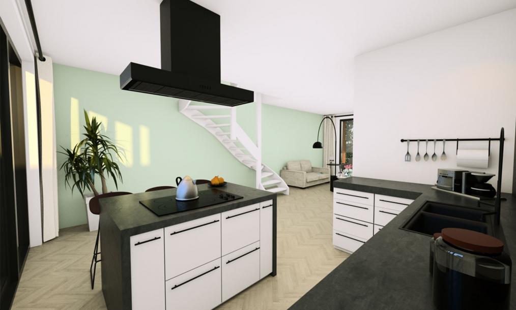3D interieur impressie keuken energieneutrale starterswoningen De zes meesters te Wissenkerke