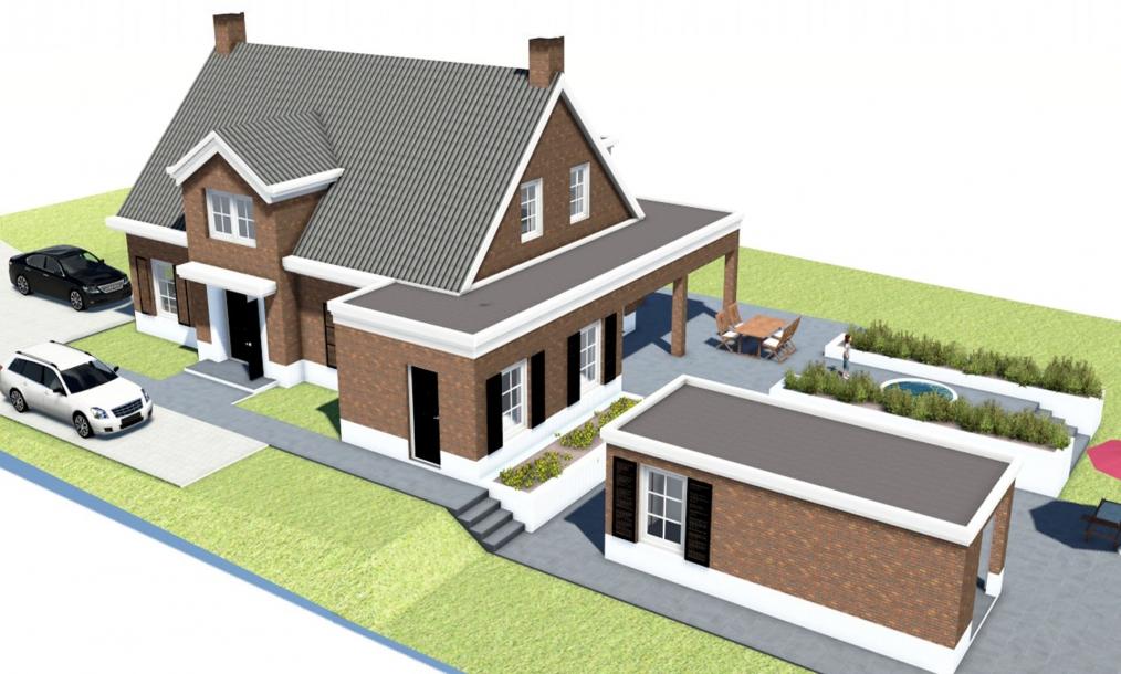 3D impressie vogelvlucht landelijke villa